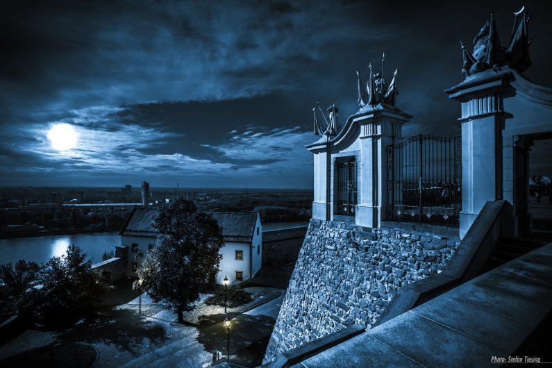 Moon over Bratislava Castle