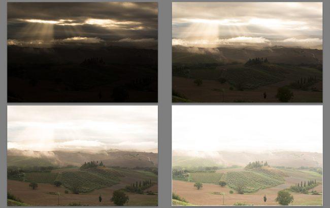 4 unterschiedliche Belichtungen, um den Dynamikumfang morgens in der Toskana einzufangen