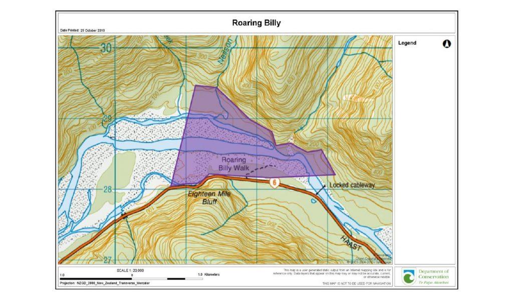 Roaring Billy: Karte des Naturschutzgebietes (Neuseeland)