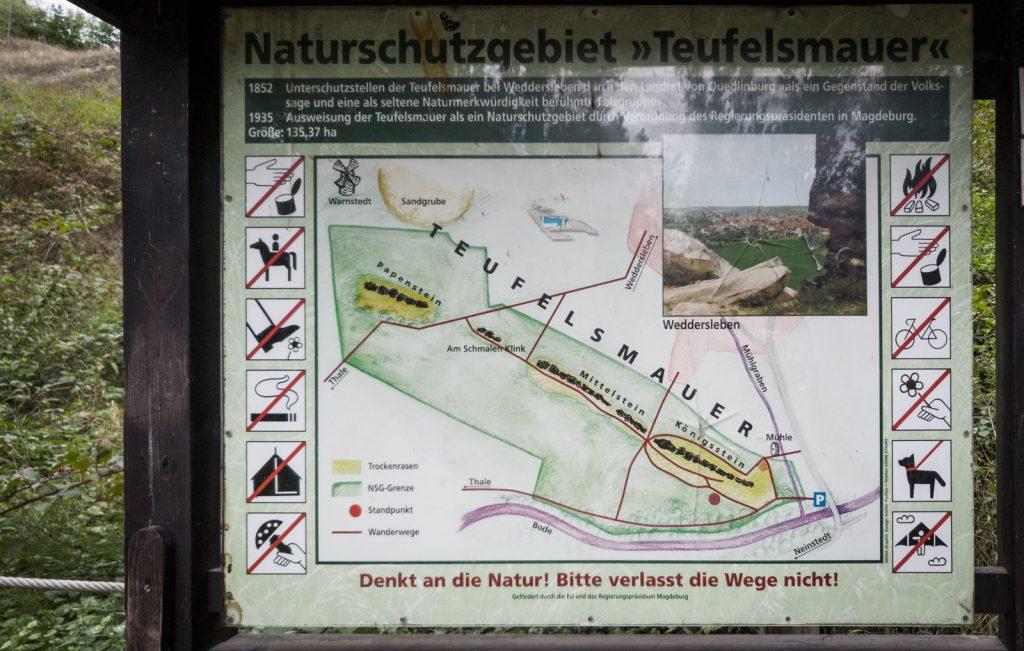 Übersichtskarte: Teufelsmauer im Harz