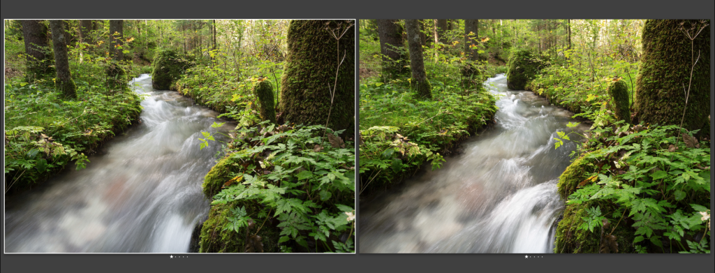 Zwei Bilder der Ramsauer Ache im Zauberwald