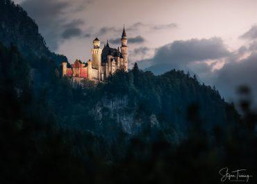 Neuschwanstein Fotolocation bei Sonnenuntergang