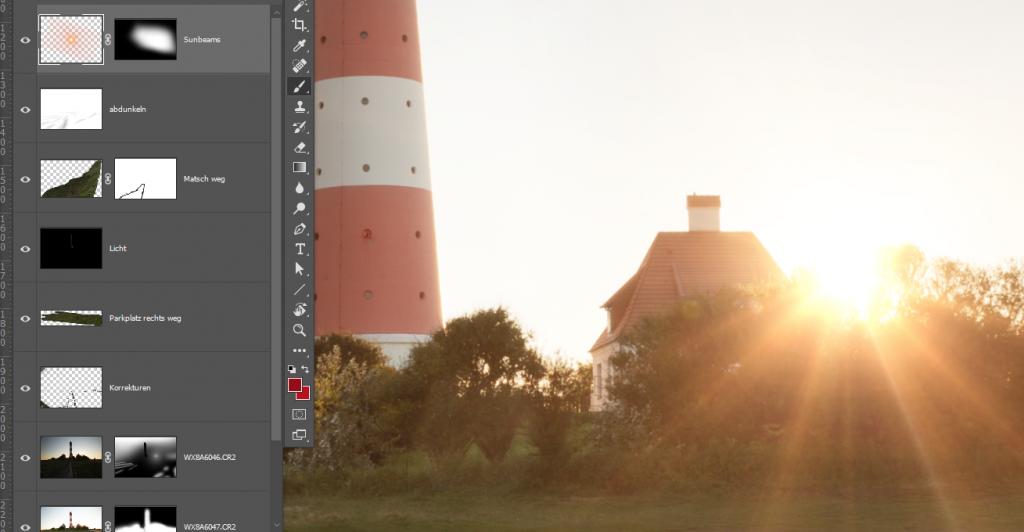 Bildbearbeitung mit Photoshop: Leuchtturm Westerhevesand