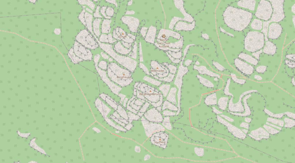 Karte des Aussichtpunktes Kleine Gans Südaussicht in der Sächsischen Schweiz