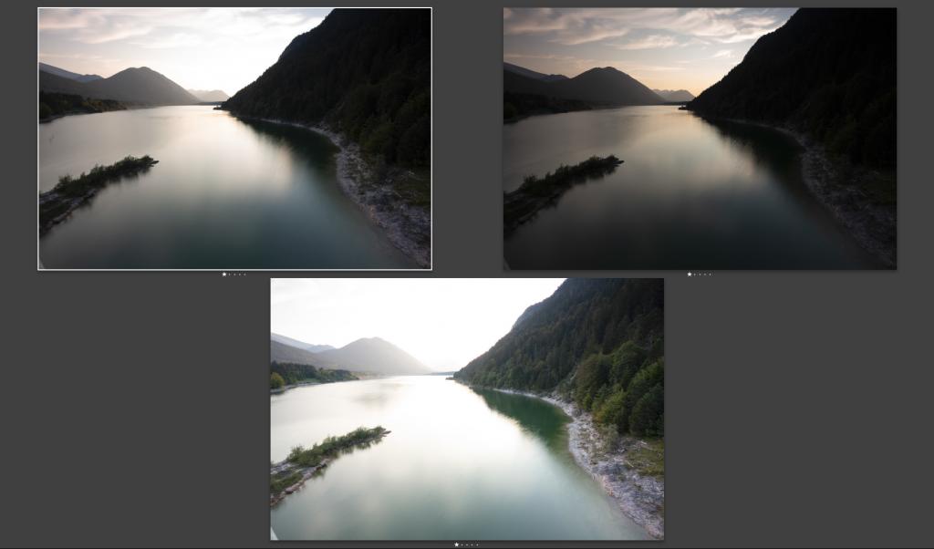 Mehrere Aufnahmen mit unterschiedlicher Belichtungszeit vom Sylvensteinsee.