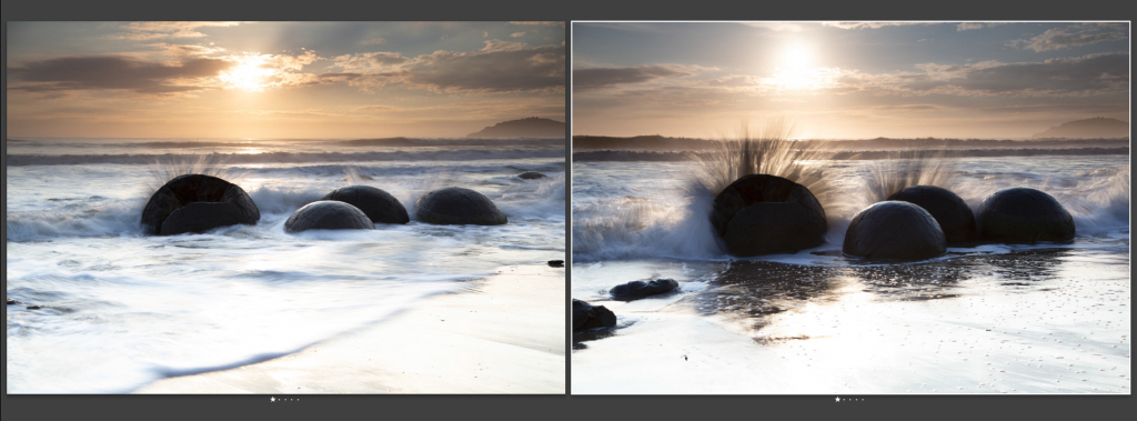 Zwei Fotos der Moeraki Boulders