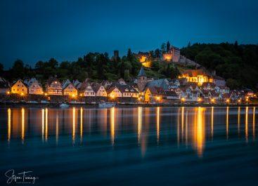 Hirschhorn am Neckar zur blauen Stunde am Abend