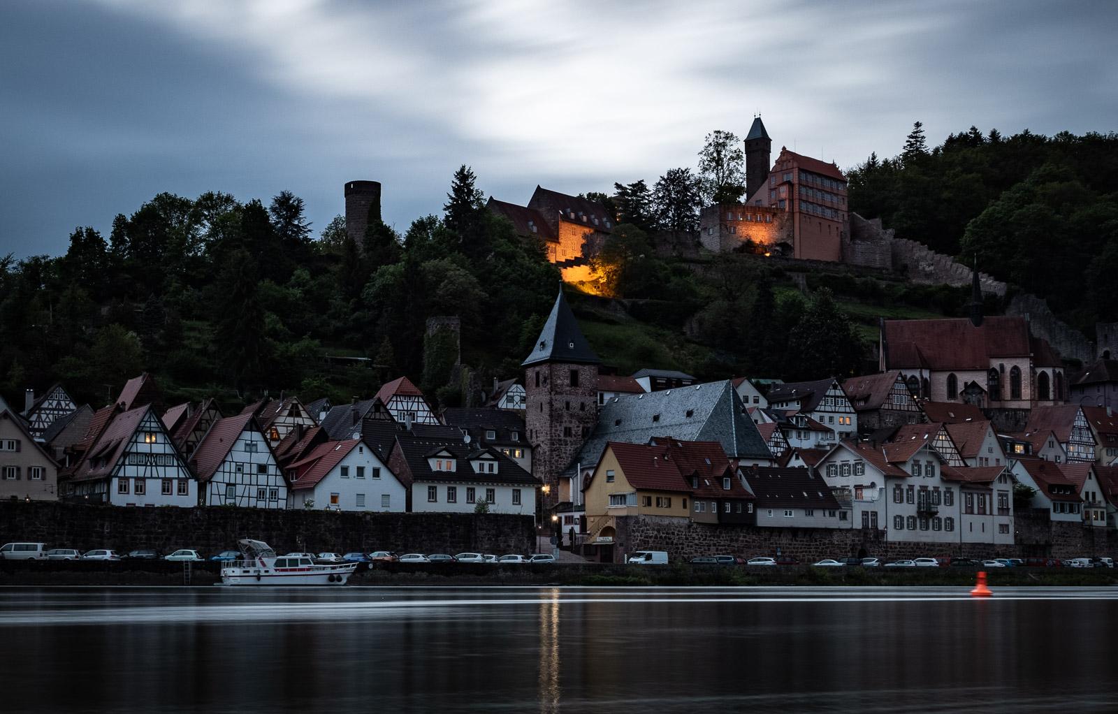 Die Altstadt von Hirschhorn am Abend