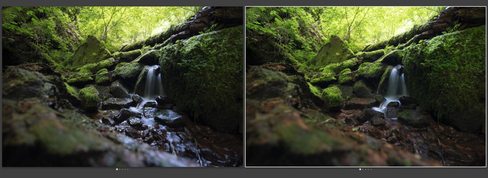 Vergleich der Wirkung: Polfilter am Wasserfall